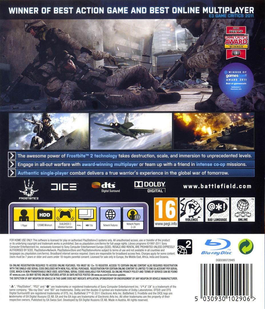 Battlefield 3 PS3 backHQ (BLES01275)
