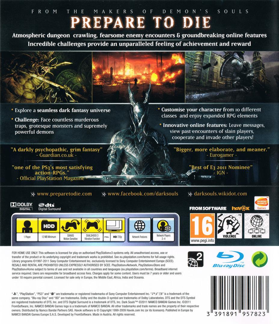 Dark Souls: Limited Edition PS3 backHQ (BLES01402)