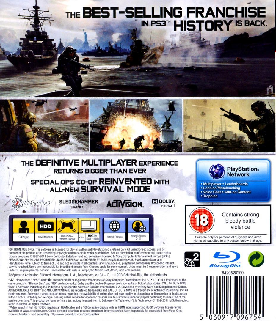 Call of Duty: Modern Warfare 3 PS3 backHQ (BLES01428)