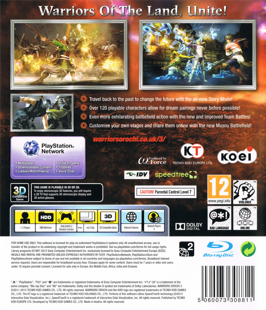 Warriors Orochi 3 PS3 backHQ (BLES01588)