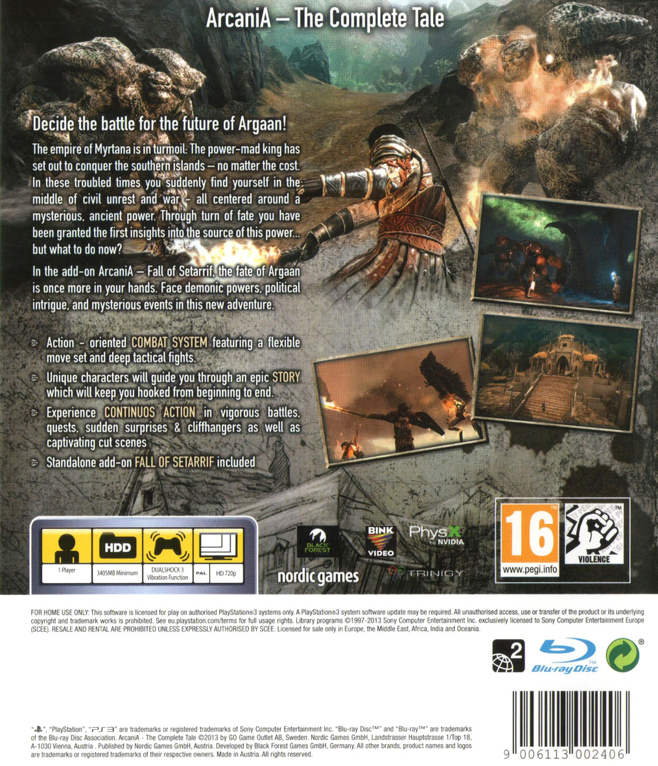 Arcania: The Complete Tale PS3 backHQ (BLES01783)