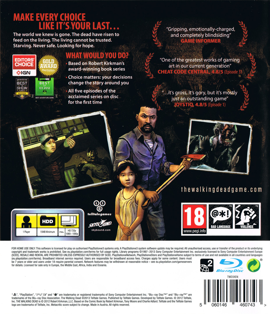 The Walking Dead: A Telltale Games Series PS3 backHQ (BLES01833)