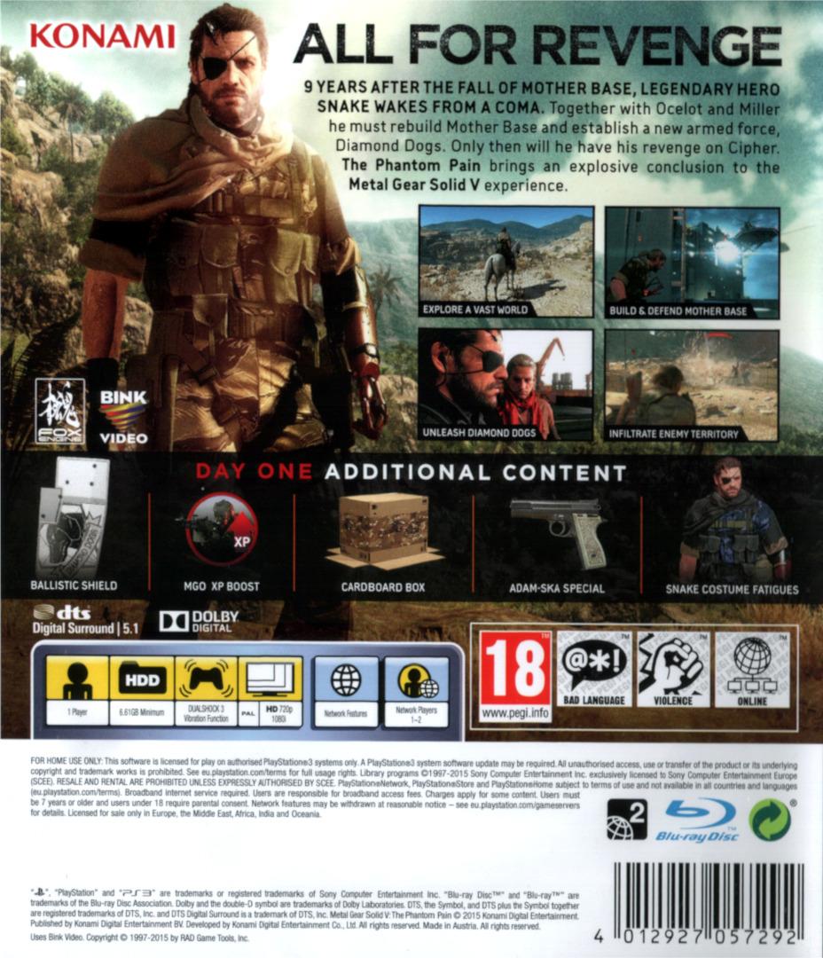Metal Gear Solid V – The Phantom Pain PS3 backHQ (BLES02102)