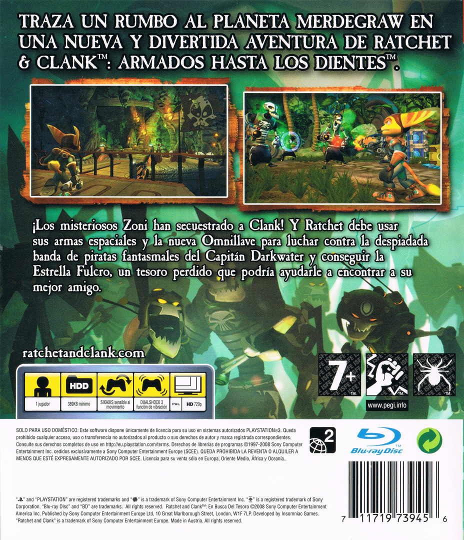 Ratchet & Clank: En busca del tesoro PS3 backHQ (BCES00301)