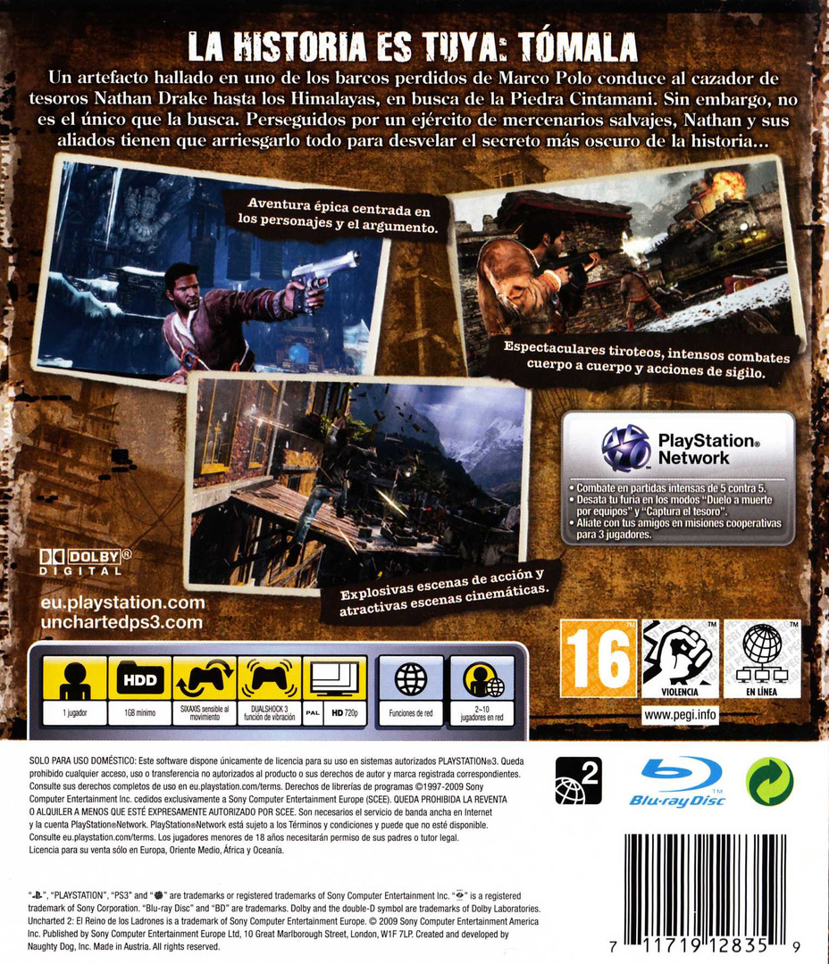Uncharted 2: El Reino de los Ladrones PS3 backHQ (BCES00757)