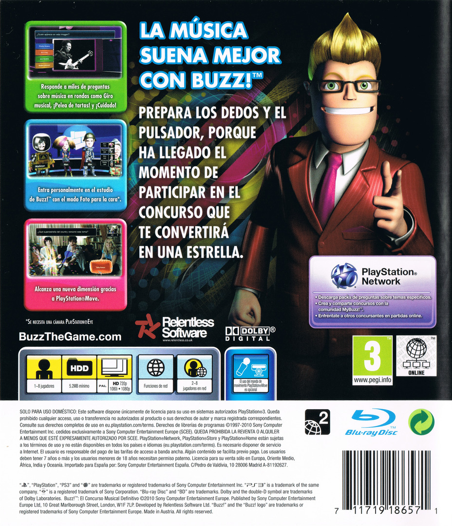 Buzz! El Concurso Musical Definitivo PS3 backHQ (BCES00830)