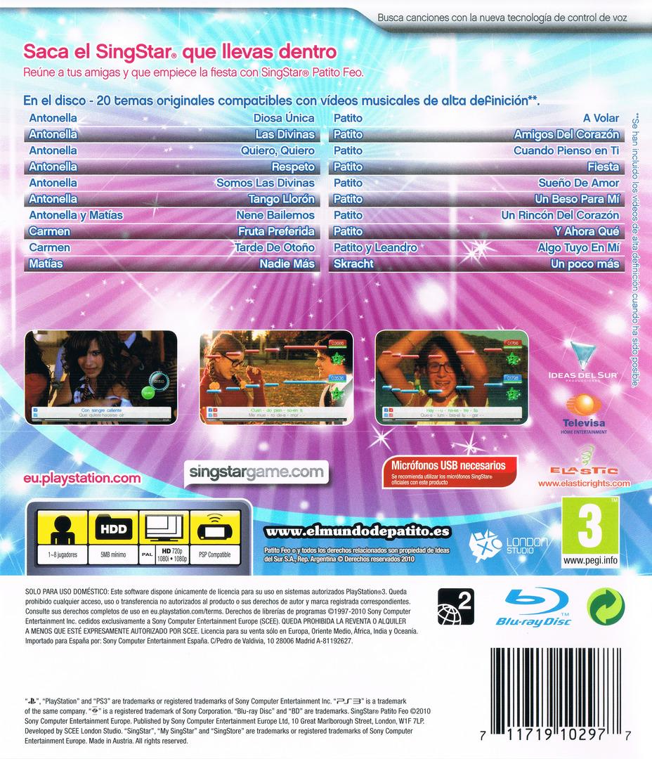 SingStar Patito Feo PS3 backHQ (BCES00873)