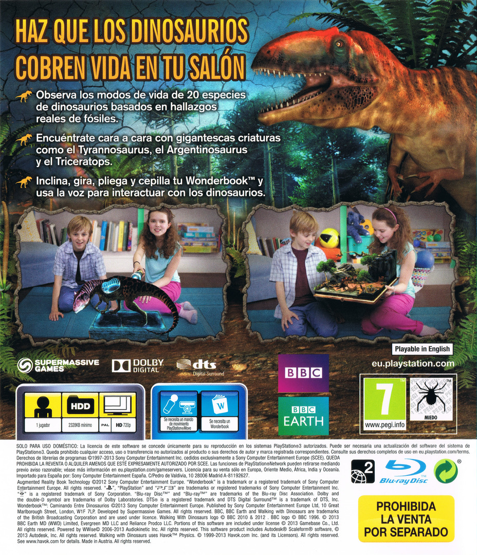 Wonderbook: Caminando entre Dinosaurios PS3 backHQ (BCES01806)