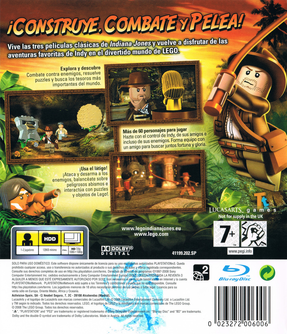 LEGO Indiana Jones: La Trilogía Original PS3 backHQ (BLES00254)