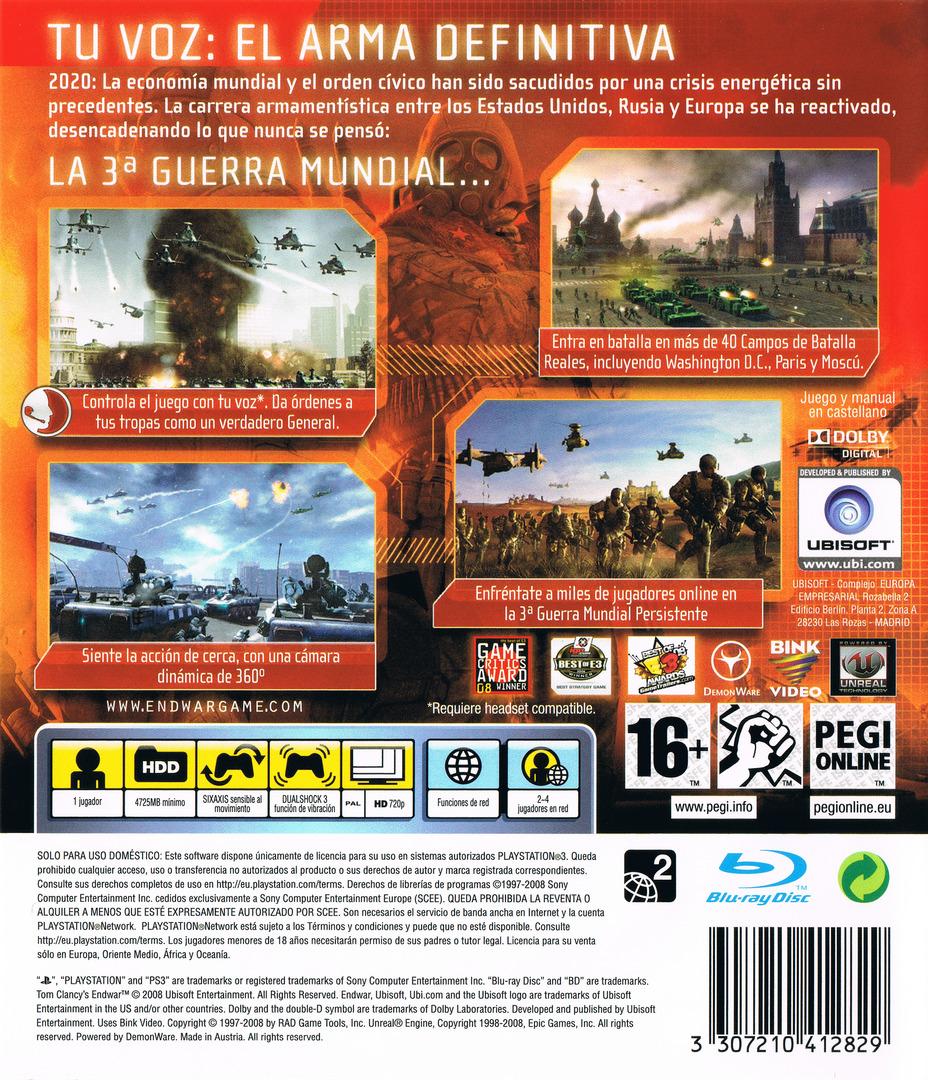 Tom Clancy's EndWar PS3 backHQ (BLES00326)