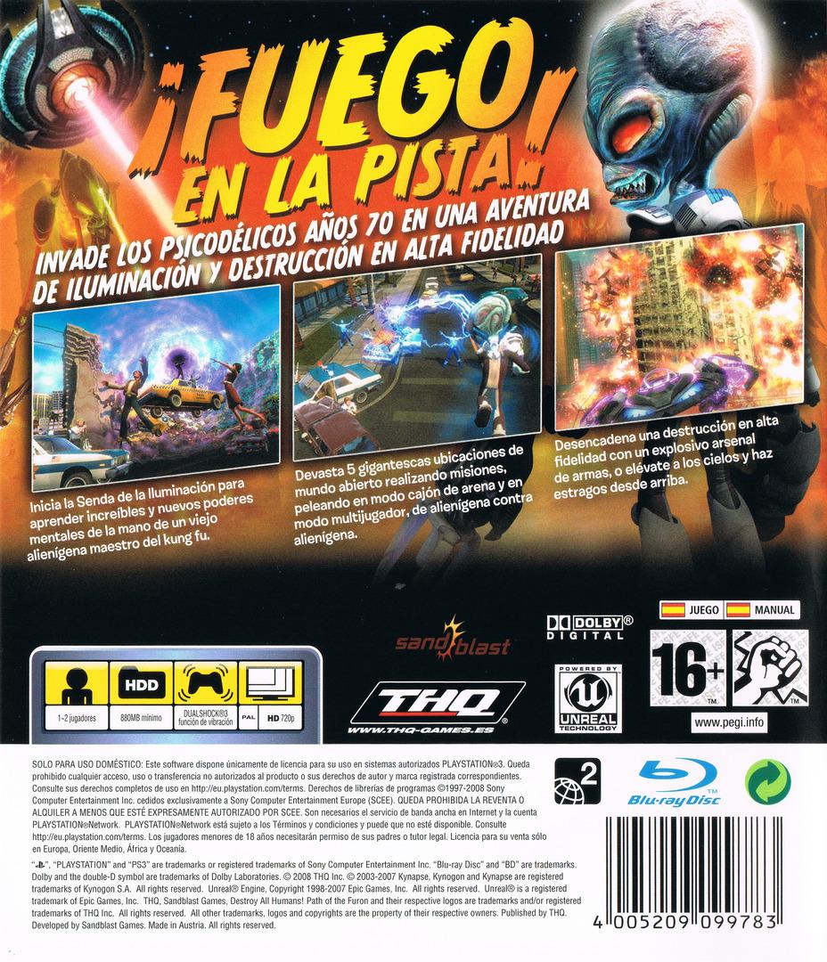 Destroy All Humans! El Camino del Recto Furon PS3 backHQ (BLES00467)