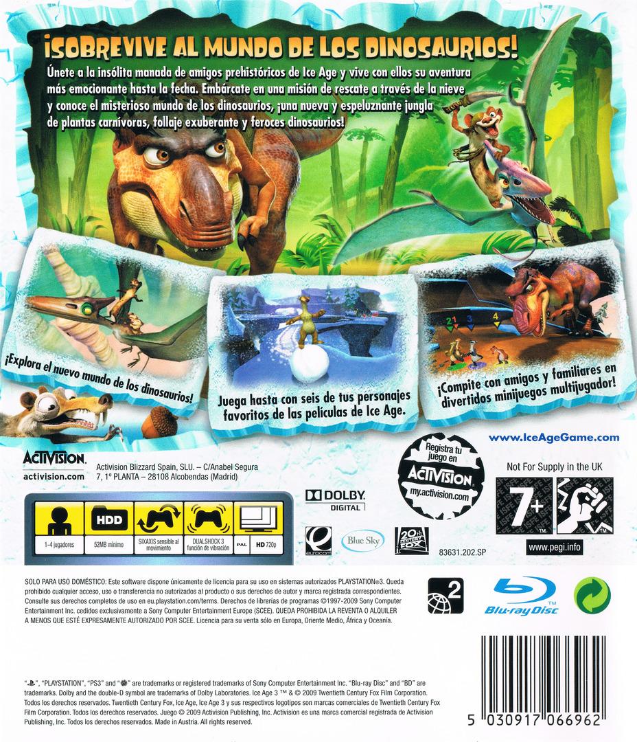 Ice Age 3: El Origen De Los Dinosaurios PS3 backHQ (BLES00522)