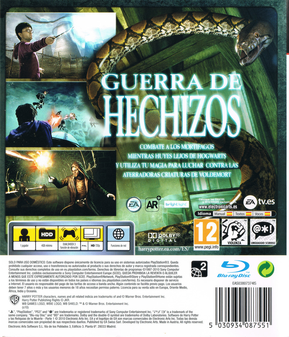 Harry Potter y Las Reliquias de la Muerte: Parte 1 PS3 backHQ (BLES00931)