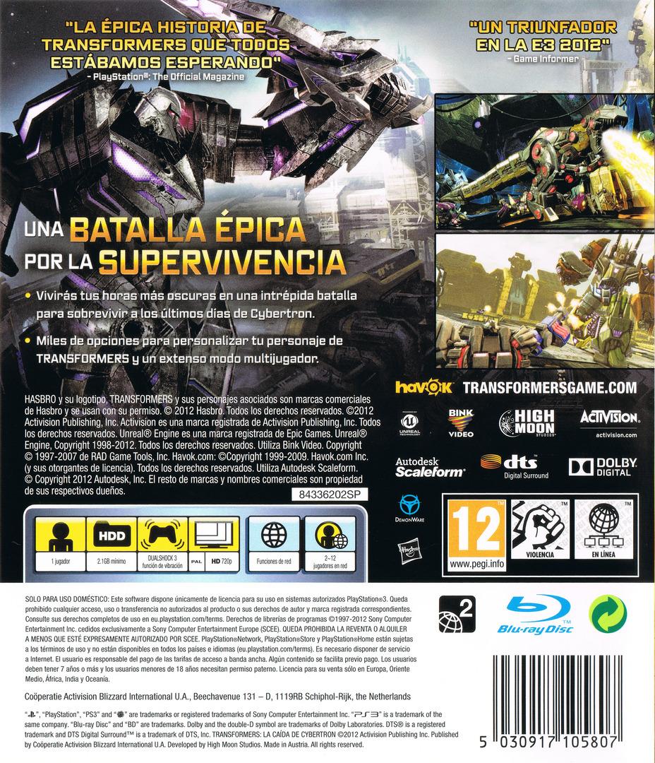 Transformers: La Caída de Cybertron PS3 backHQ (BLES01153)