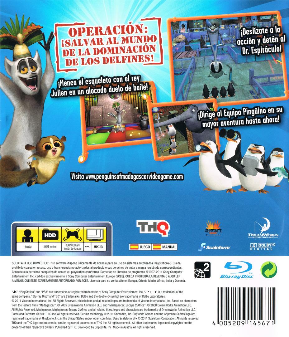Los Pingüinos de Madagascar: El regreso del Dr. Espiráculo PS3 backHQ (BLES01219)