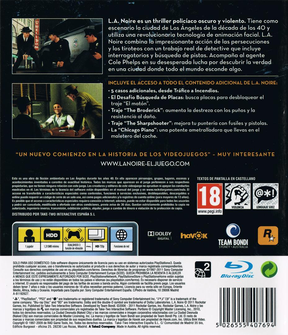 L.A. Noire: La Edición Completa PS3 backHQ (BLES01488)