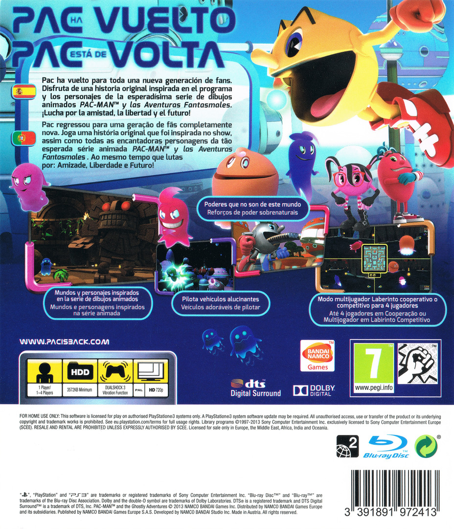 Pac-Man y las Aventuras Fantasmales PS3 backHQ (BLES01901)
