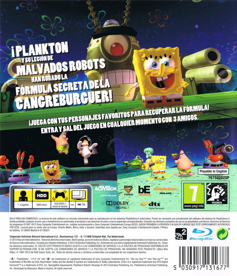 Bob Esponja: La Venganza de Plankton PS3 backHQ (BLES01911)