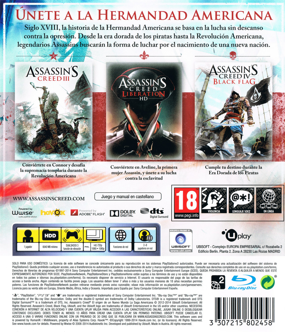 Assassin's Creed: El origen de un nuevo mundo - La Saga Americana PS3 backHQ (BLES02085)