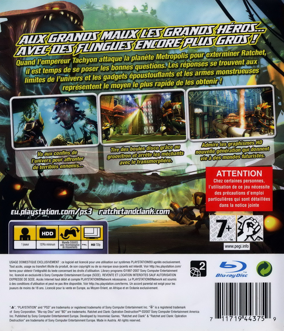Ratchet et Clank: Opération destruction PS3 backHQ (BCES00052)