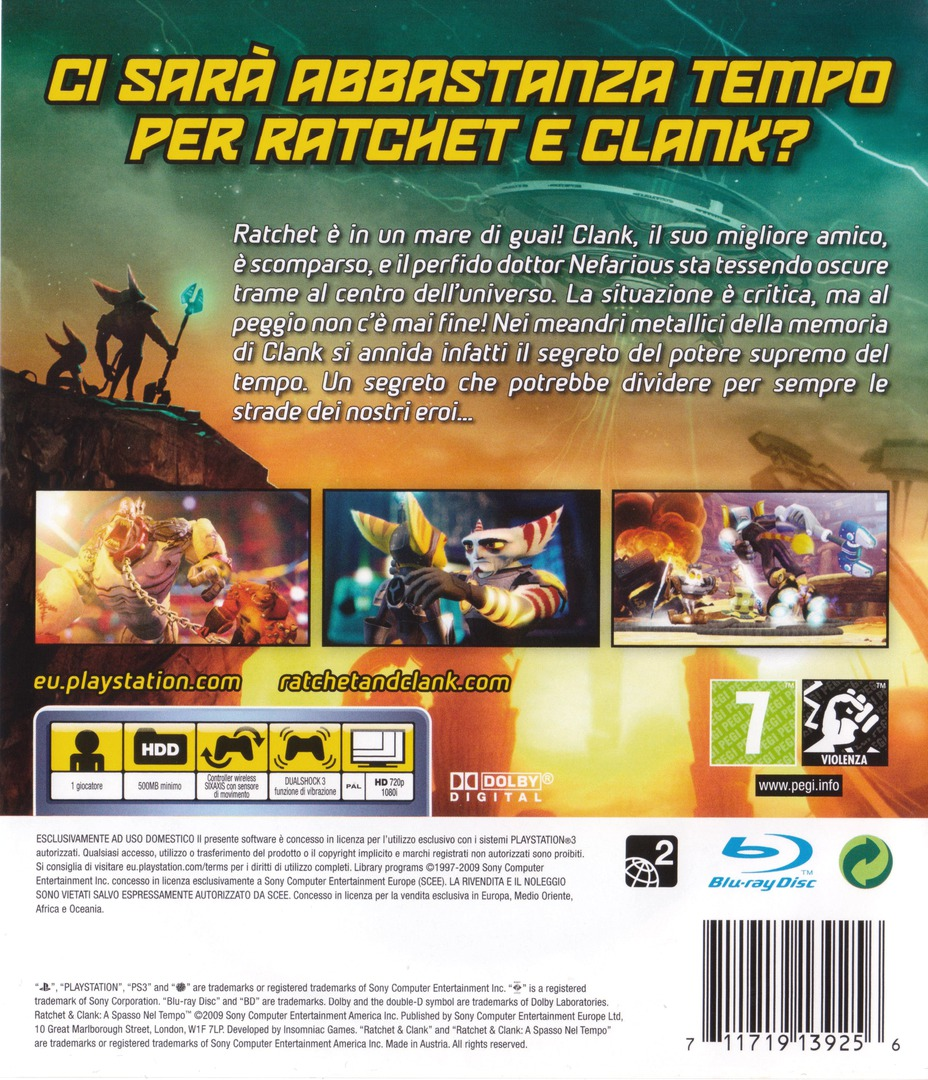 Ratchet & Clank: A spasso nel tempo PS3 backHQ (BCES00511)