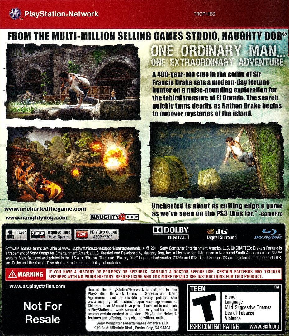 Uncharted: Drake's Fortune (Greatest Hits) PS3 backHQ (BCUS90640)