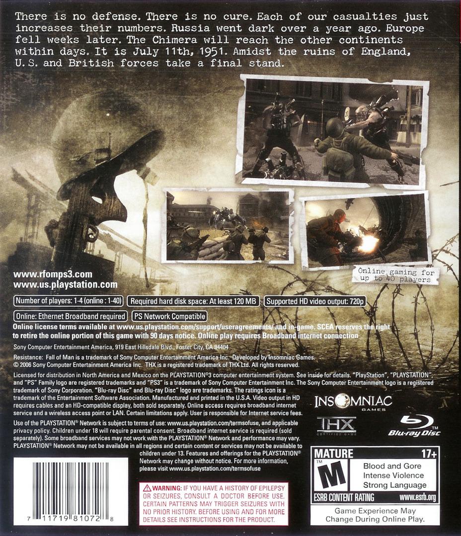 Resistance: Fall of Man PS3 backHQ (BCUS98107)
