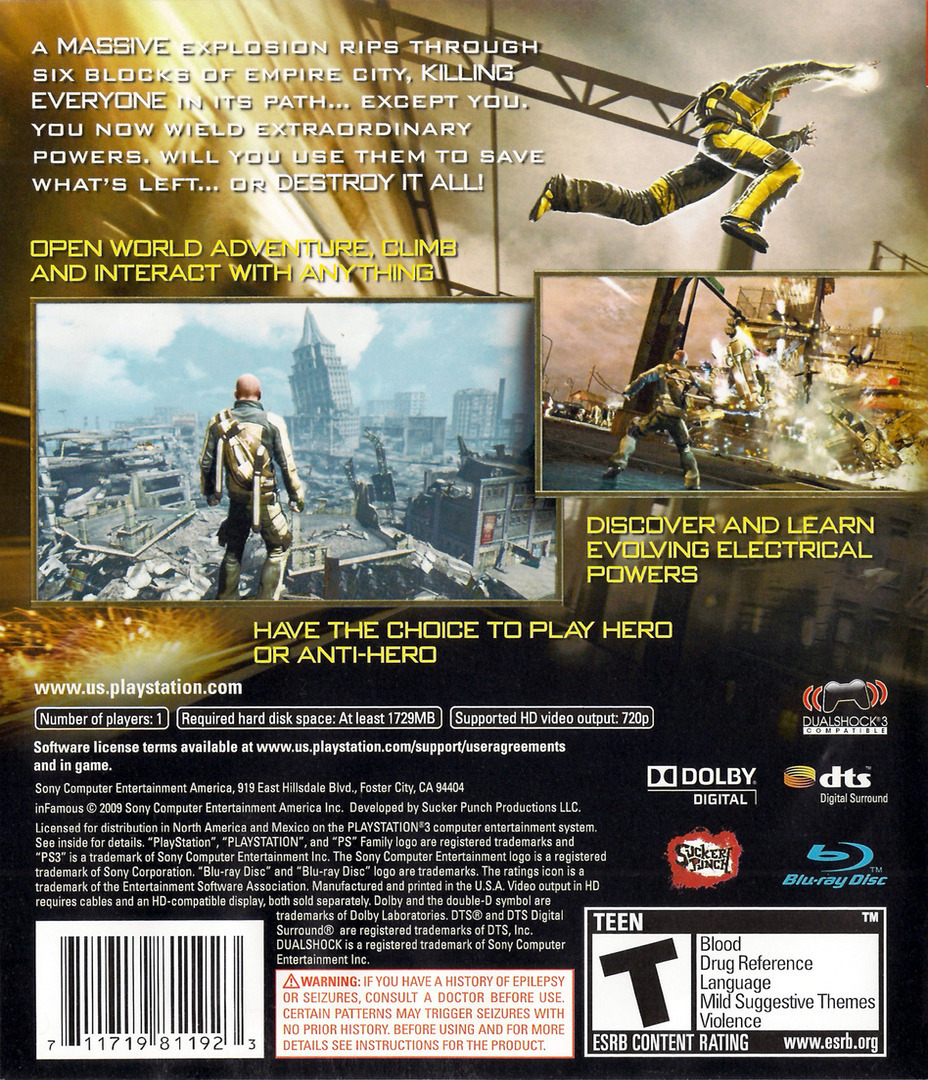 inFamous (Greatest Hits) PS3 backHQ (BCUS98119)