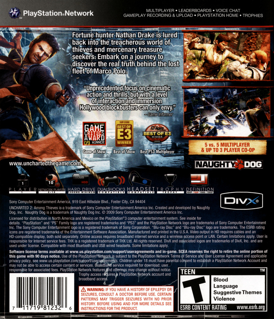 Uncharted 2: Among Thieves PS3 backHQ (BCUS98123)