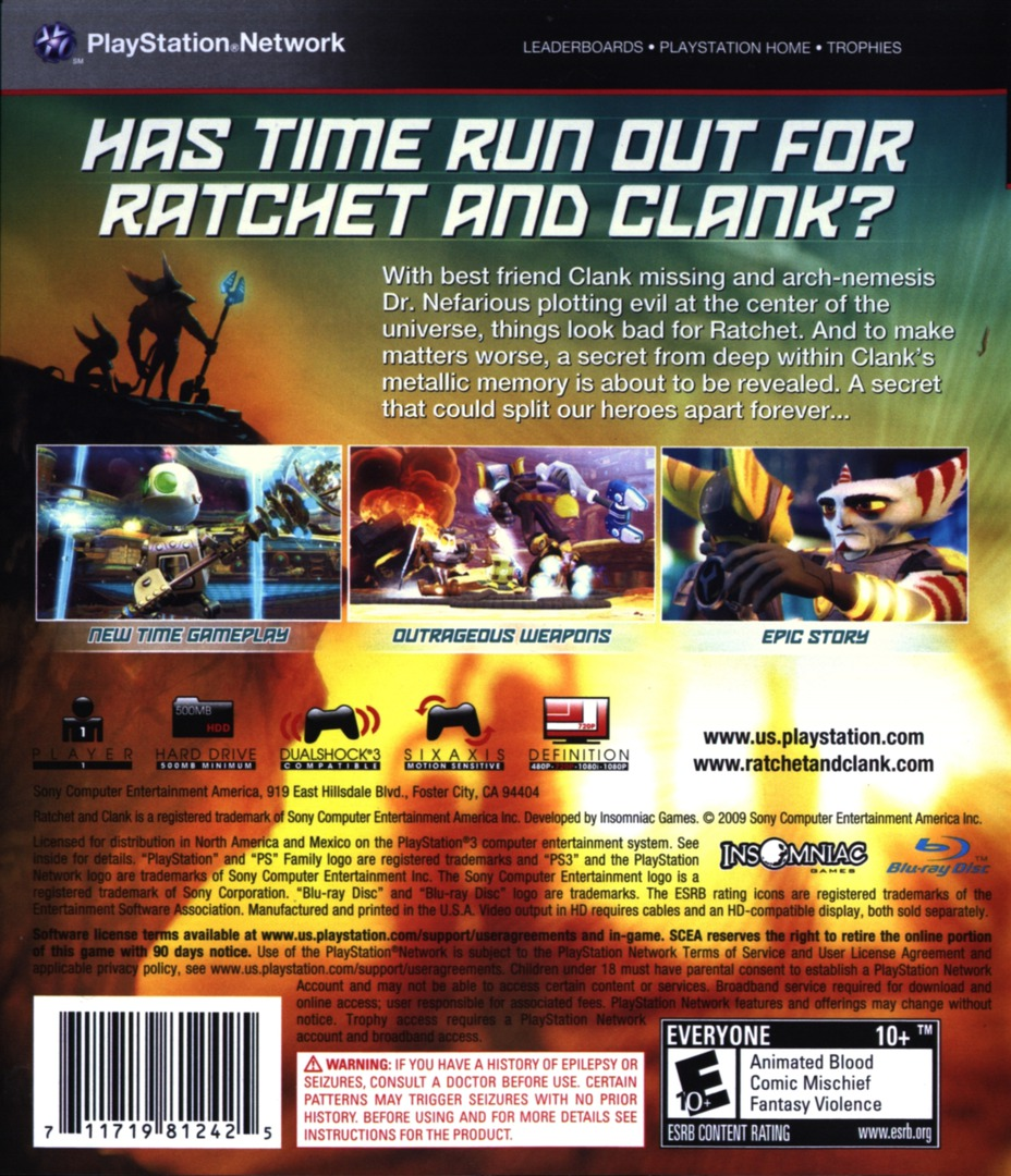 Ratchet & Clank: Future - A Crack in Time PS3 backHQ (BCUS98124)