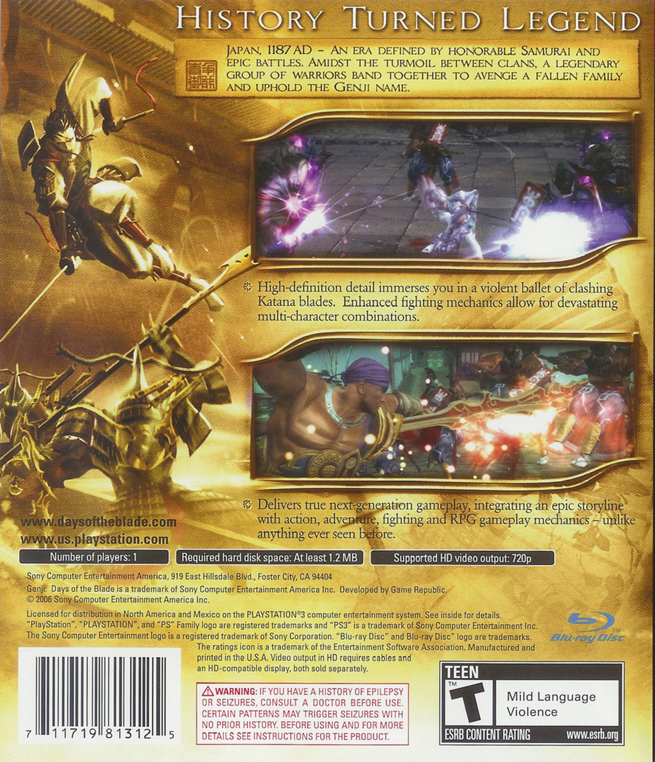 Genji: Days of the Blade PS3 backHQ (BCUS98131)