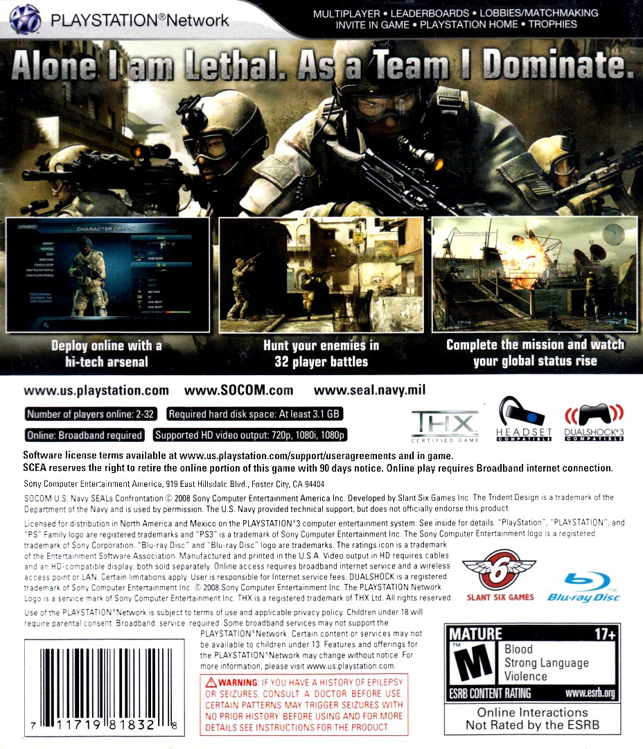 SOCOM: U.S. Navy SEALs - Confrontation PS3 backHQ (BCUS98152)