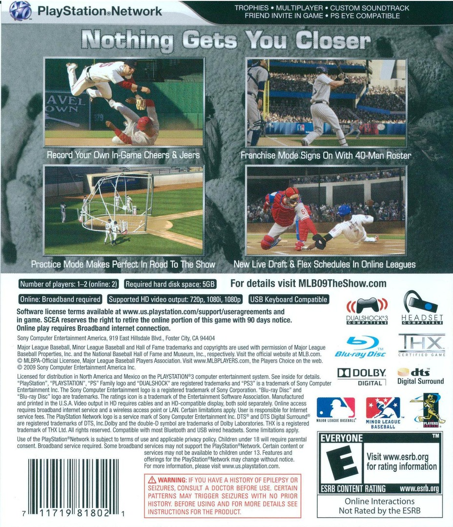 MLB 09: The Show PS3 backHQ (BCUS98180)