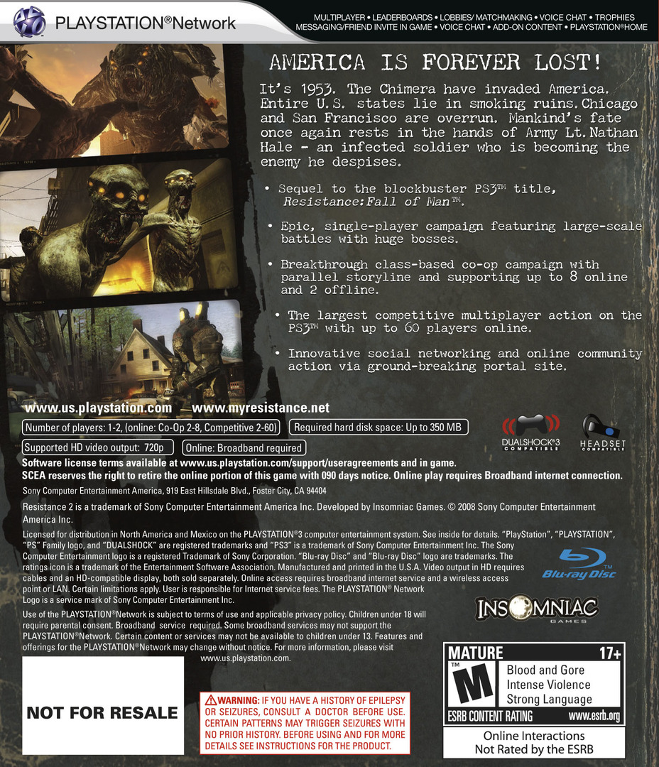 Resistance 2 (Collector's Edition) PS3 backHQ (BCUS98190)
