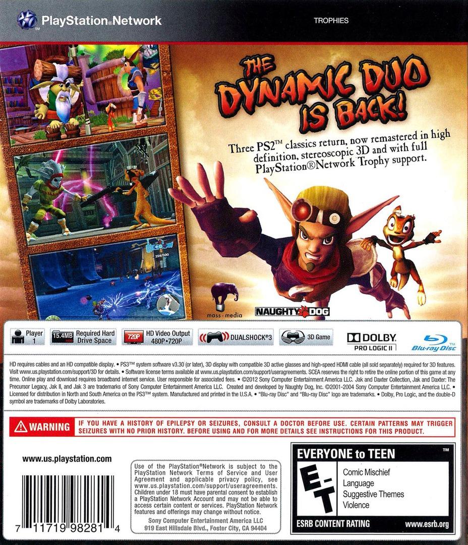 Jak & Daxter  Collection PS3 backHQ (BCUS98281)