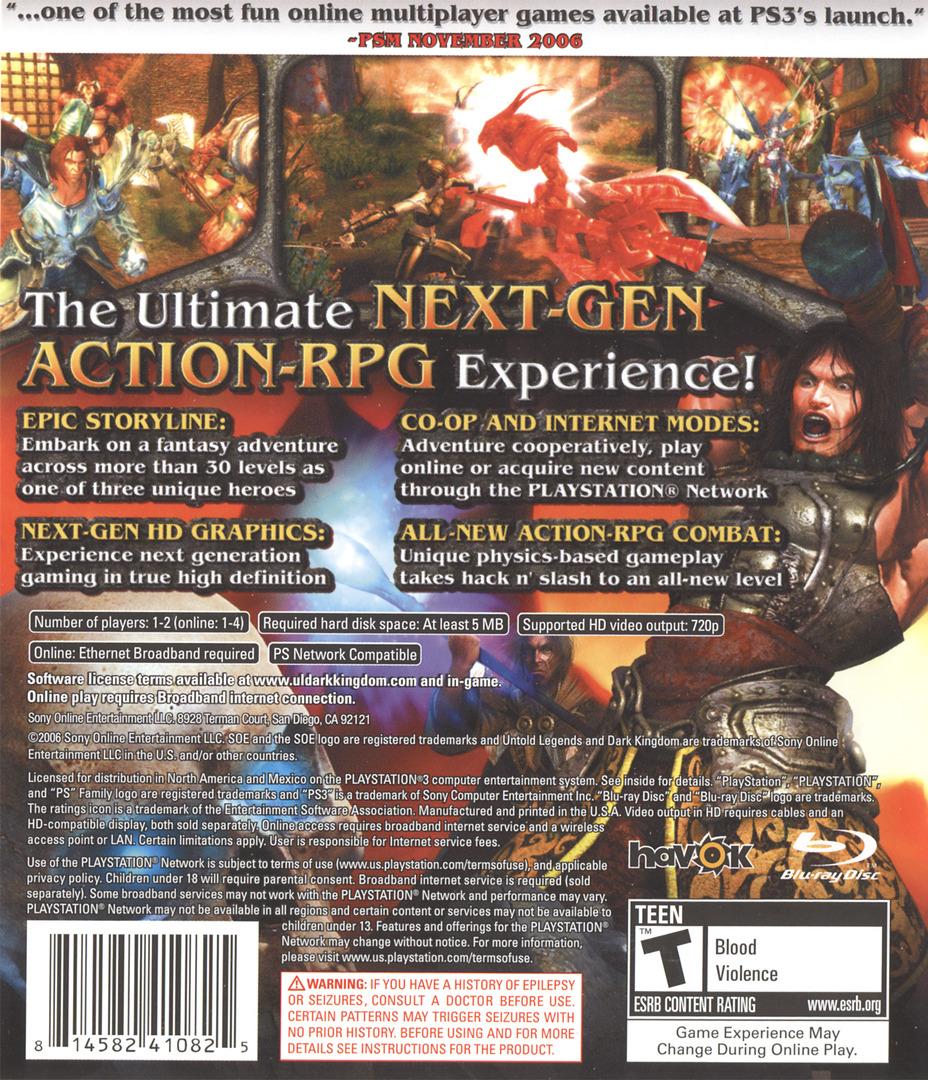 Untold Legends: Dark Kingdom PS3 backHQ (BLUS30002)