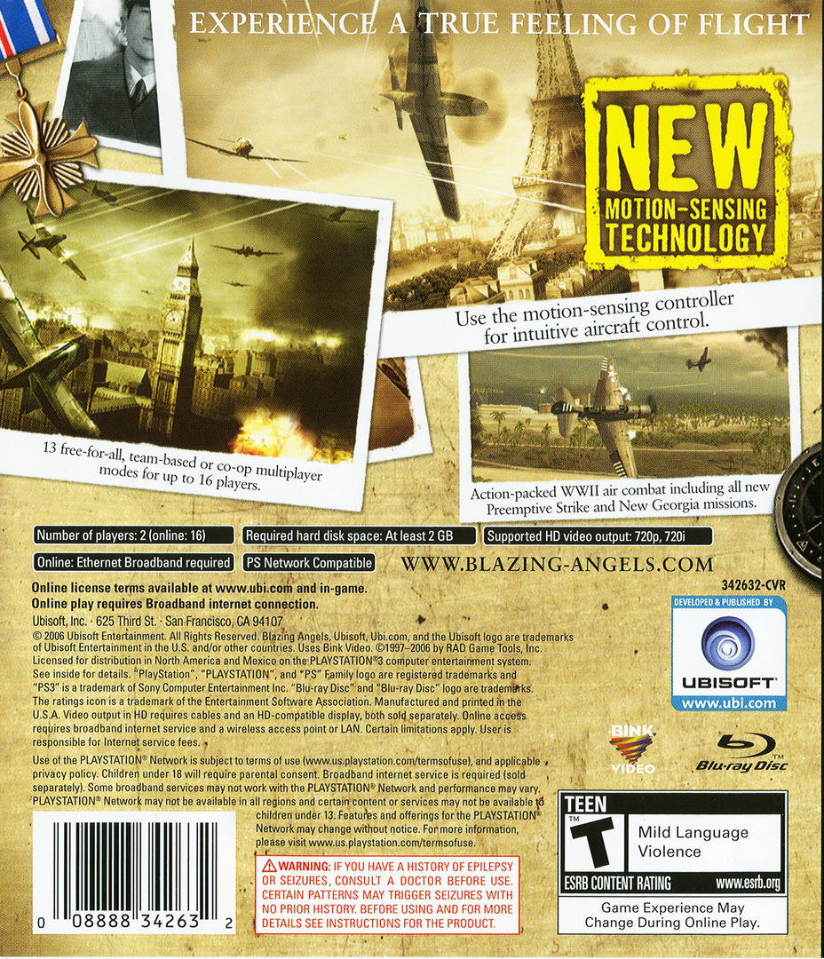 Blazing Angels: Squadrons of WWII PS3 backHQ (BLUS30006)