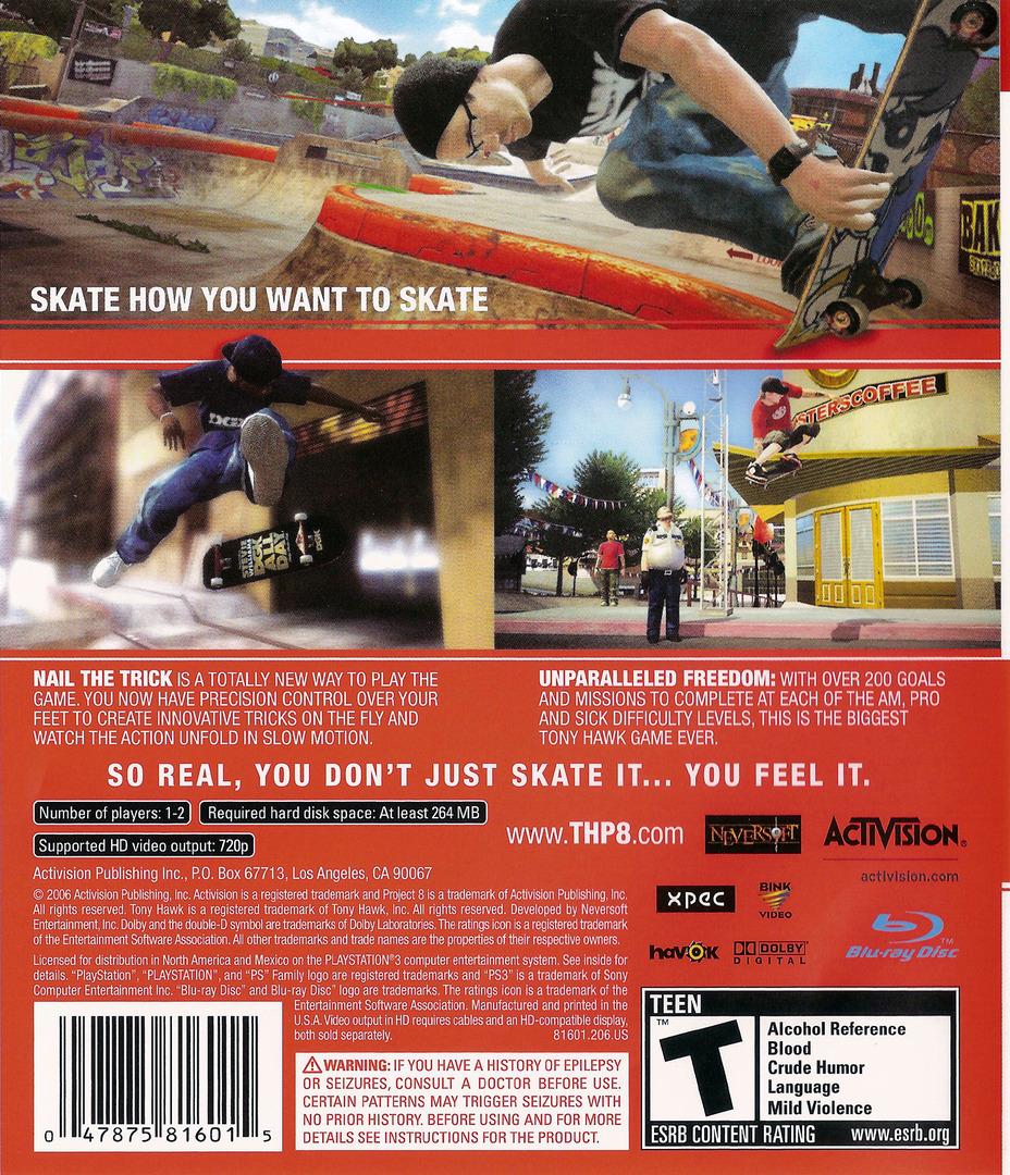 Tony Hawk's Project 8 PS3 backHQ (BLUS30011)