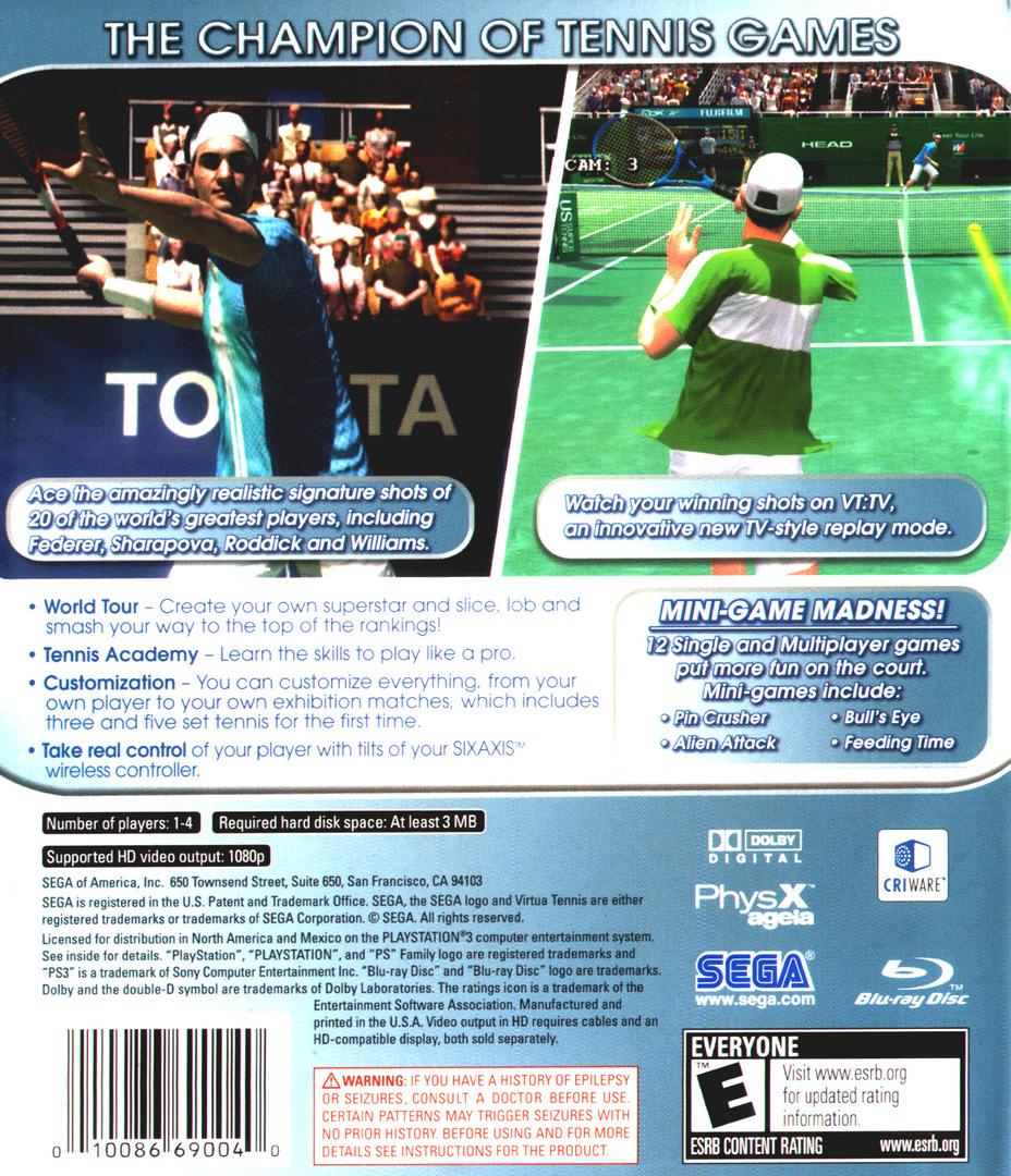 Virtua Tennis 3 PS3 backHQ (BLUS30021)