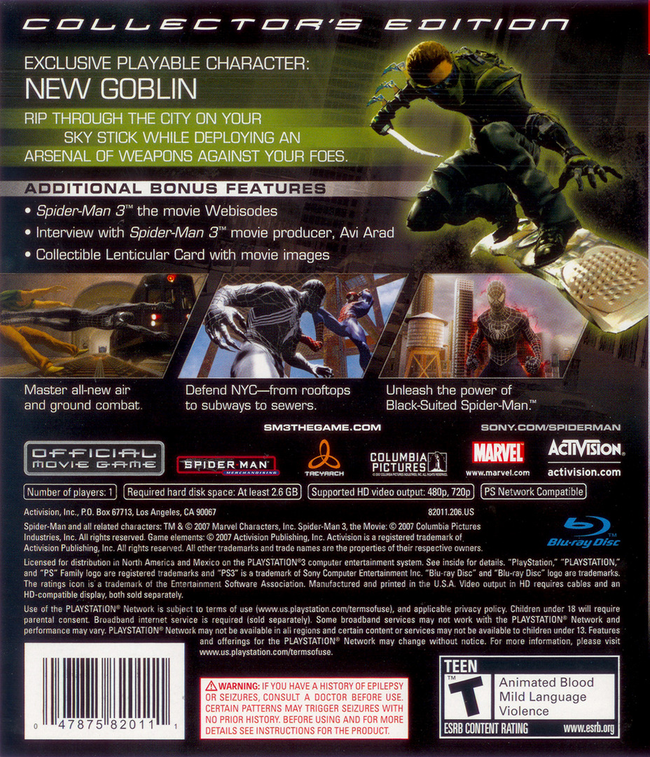 Spider-Man 3 (Collector's Edition) PS3 backHQ (BLUS30030)