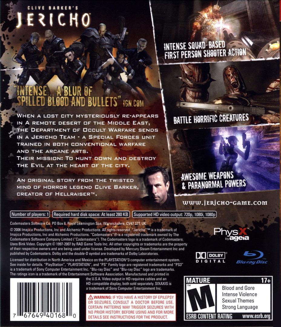 Clive Barker's Jericho PS3 backHQ (BLUS30063)
