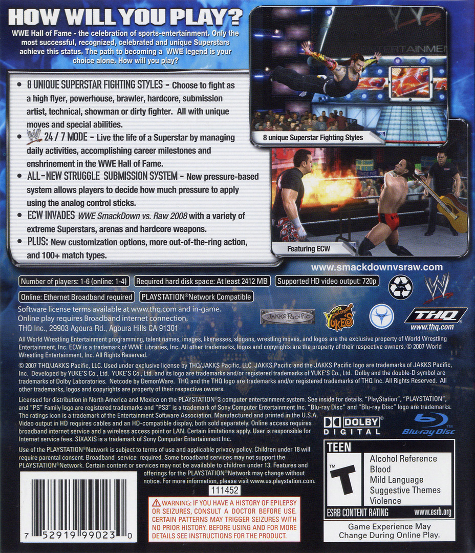 WWE SmackDown vs. Raw 2008 PS3 backHQ (BLUS30082)
