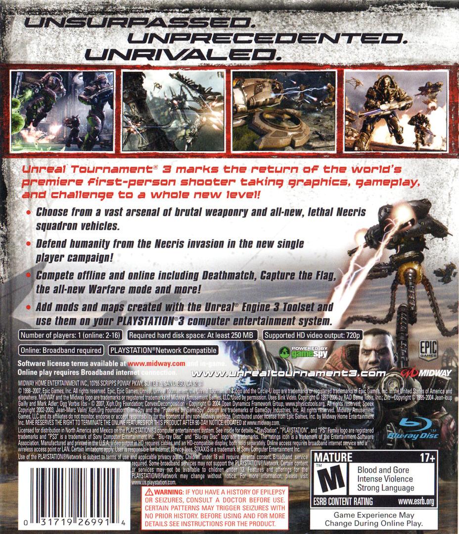Unreal Tournament III PS3 backHQ (BLUS30086)