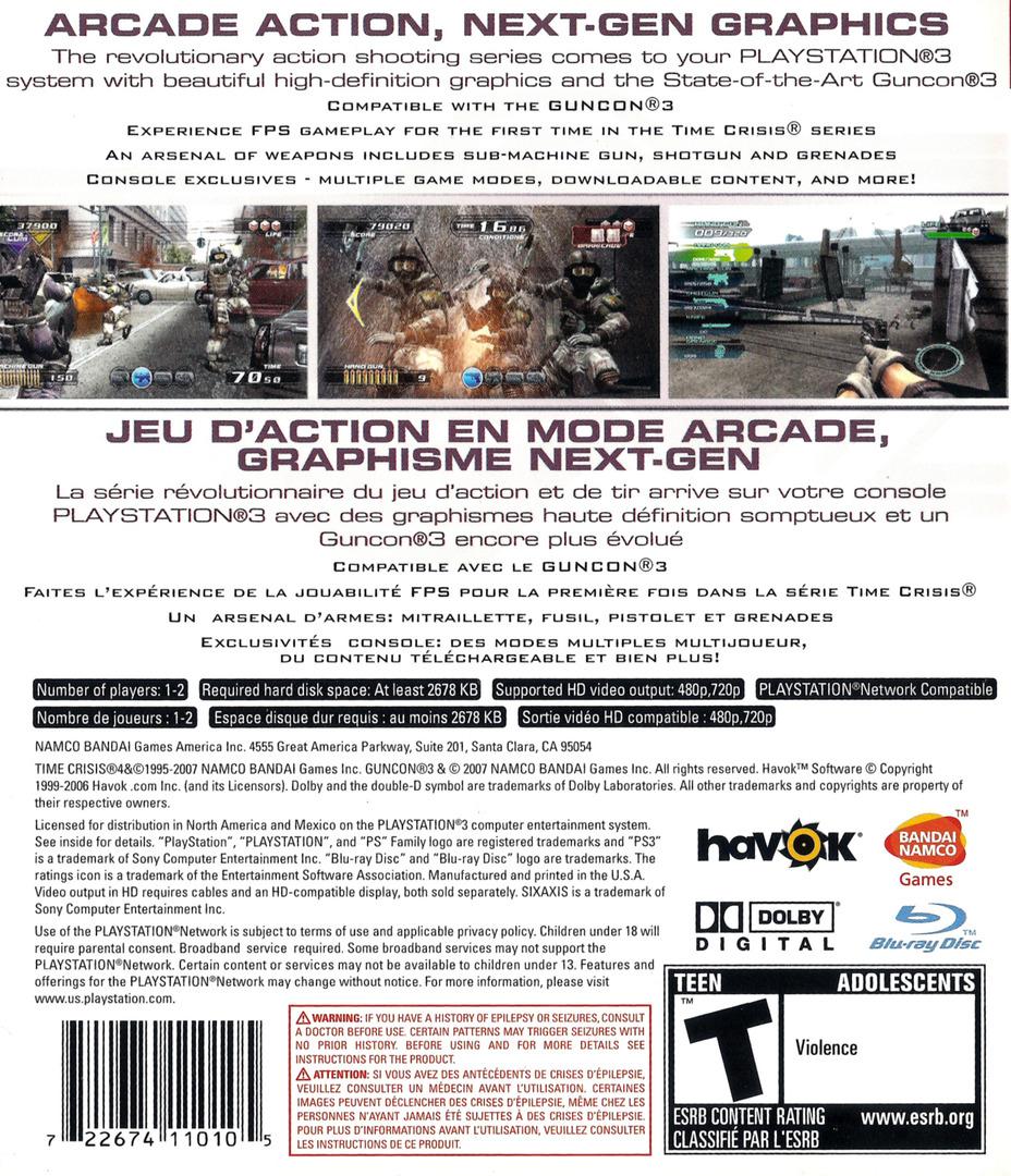 Time Crisis 4 PS3 backHQ (BLUS30093)