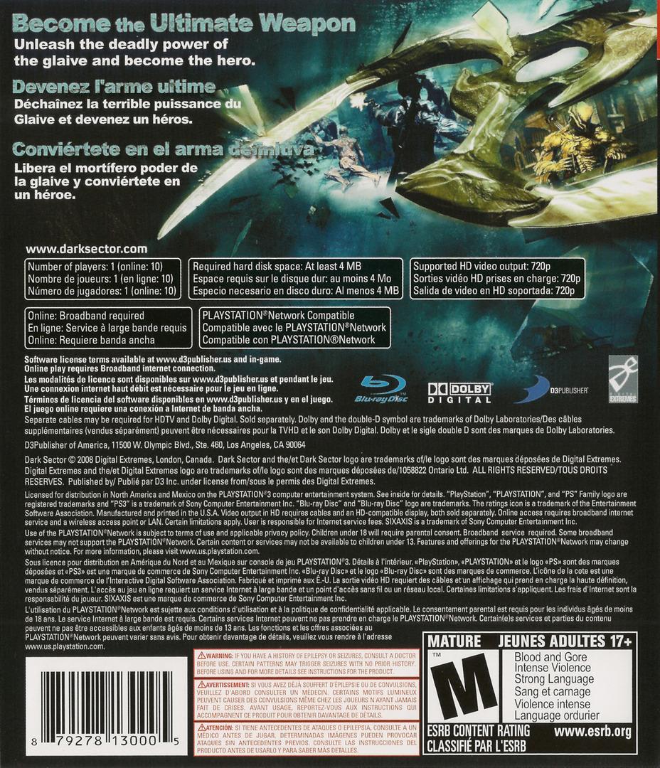 Dark Sector PS3 backHQ (BLUS30116)