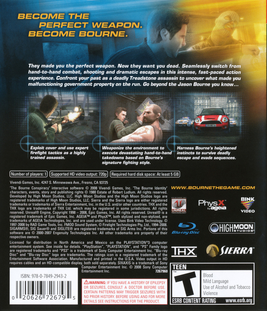 Robert Ludlum's The Bourne Conspiracy PS3 backHQ (BLUS30137)