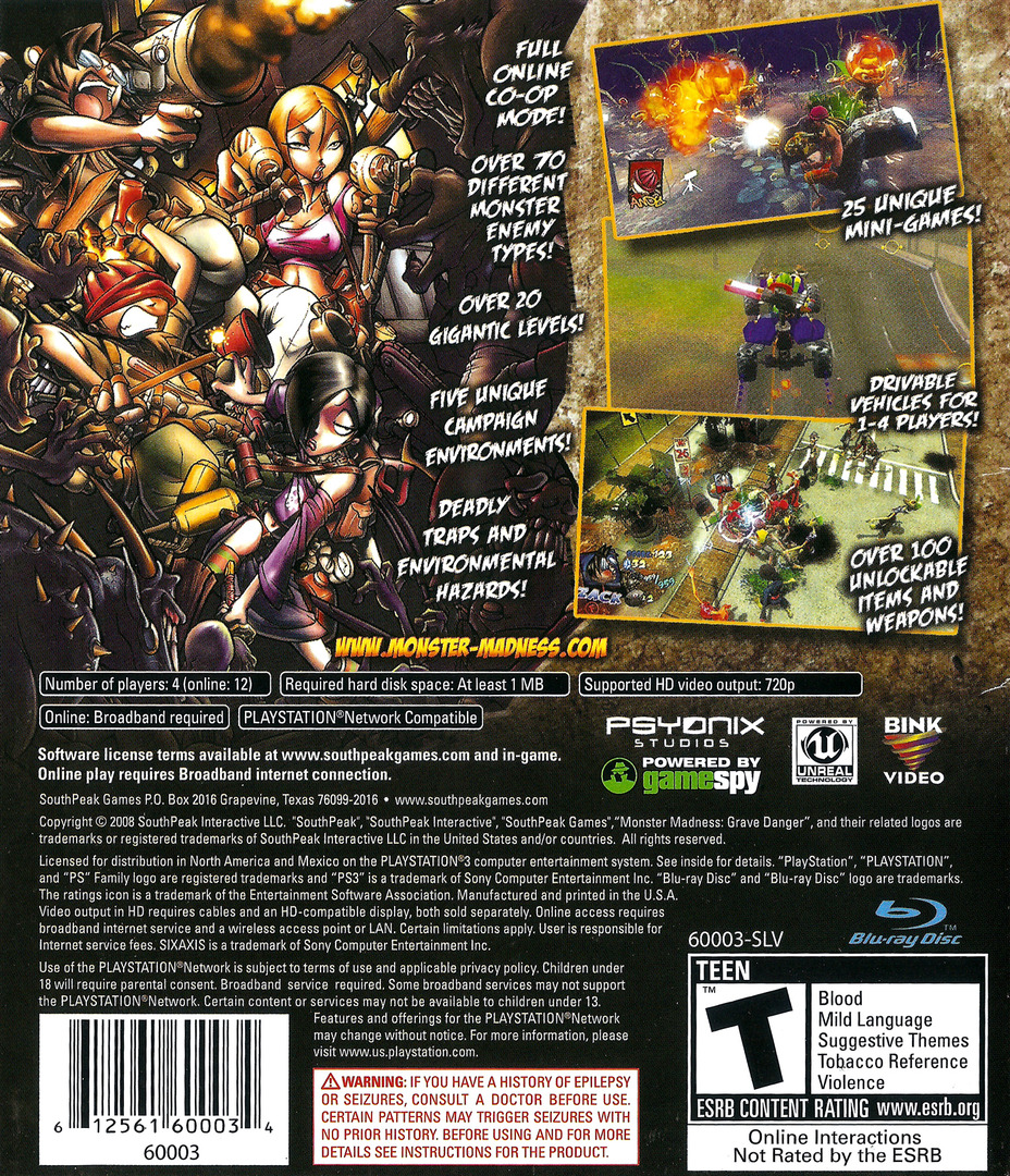 Monster Madness: Grave Danger PS3 backHQ (BLUS30140)