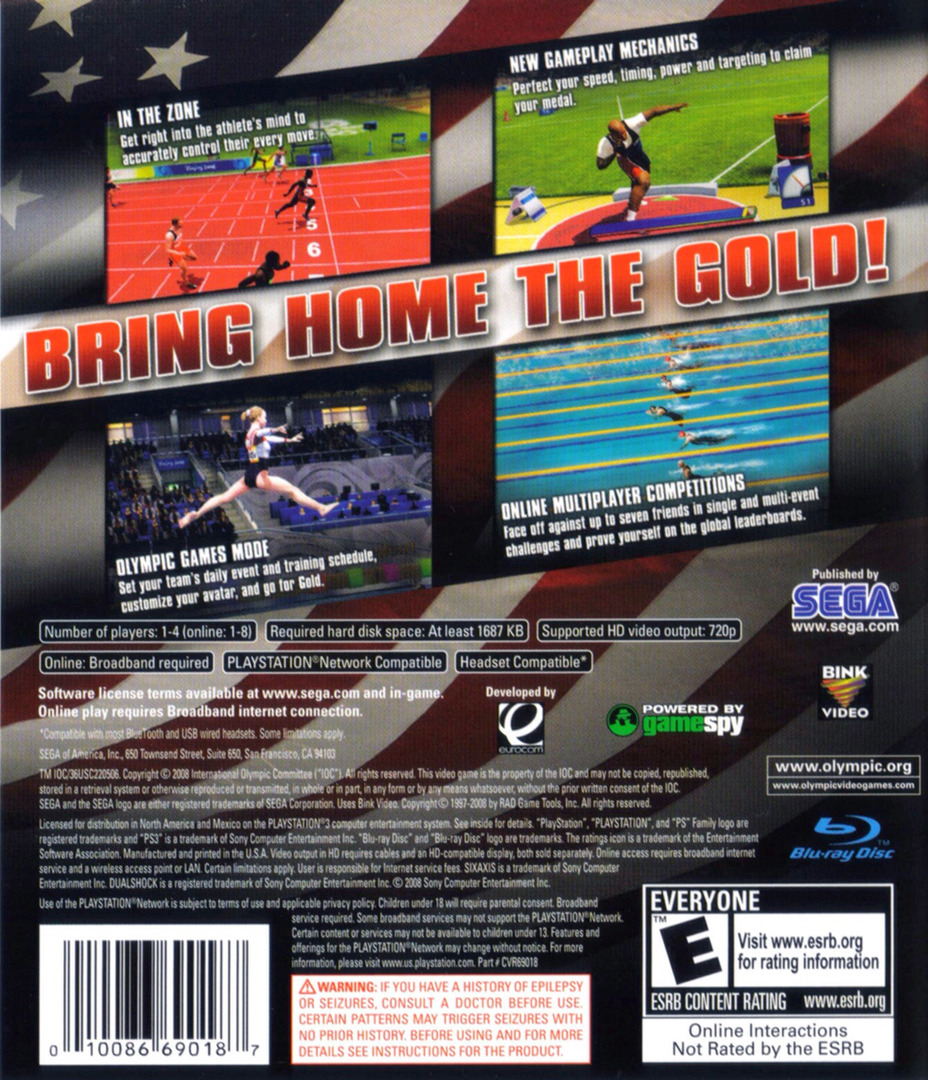 Beijing 2008: The Official Video Game of the Olympic Games PS3 backHQ (BLUS30154)
