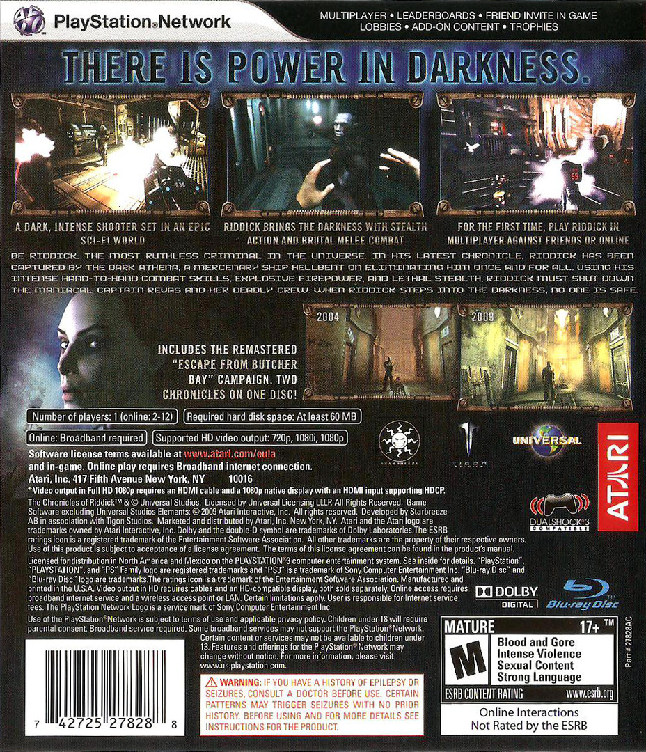 The Chronicles of Riddick: Assault on Dark Athena PS3 backHQ (BLUS30156)