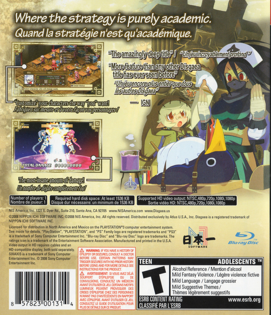 Disgaea 3: Absence of Justice PS3 backHQ (BLUS30181)